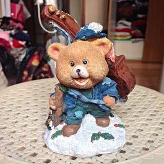 Bear with cello figurine