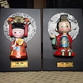 Man Zu and Huang Di Chinese figurines with minority nationality