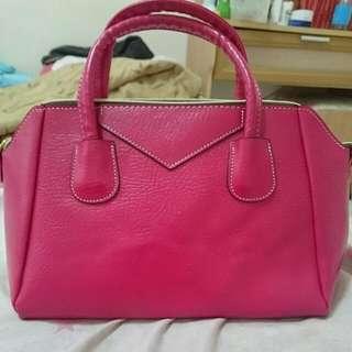 玫紅色包包(可肩背/手提)