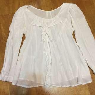 韓國帶回 無標 白色 七分袖 氣質上衣 蝴蝶結