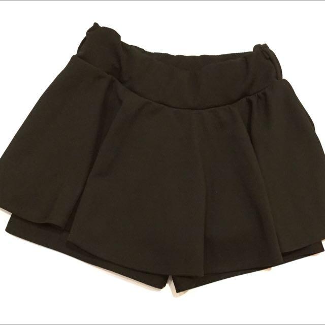 黑色彈性褲裙