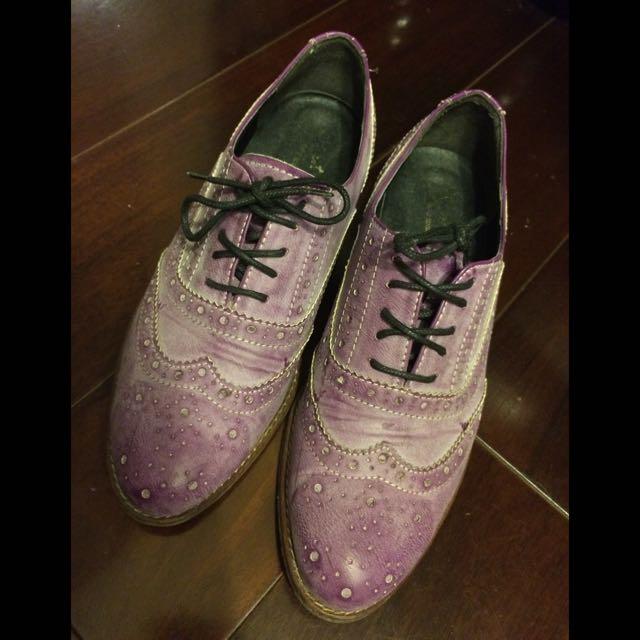 (二手)紫色雕花牛津鞋