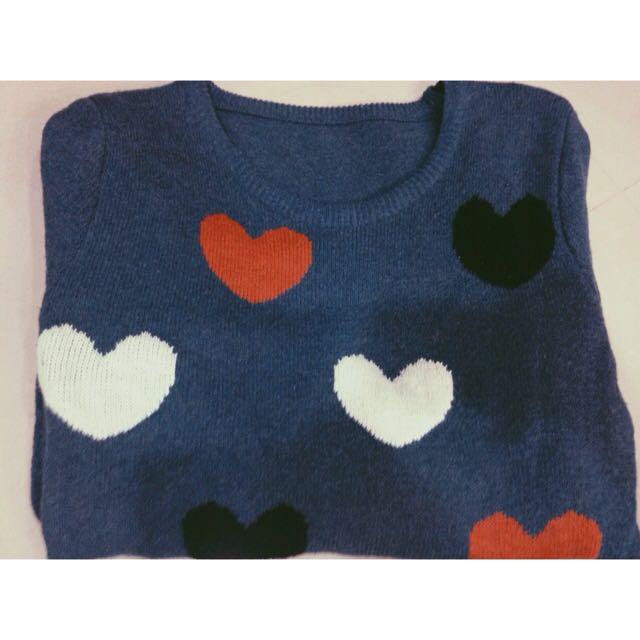 愛心長版毛衣