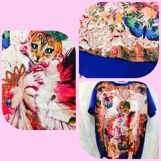 個性貓咪長版上衣