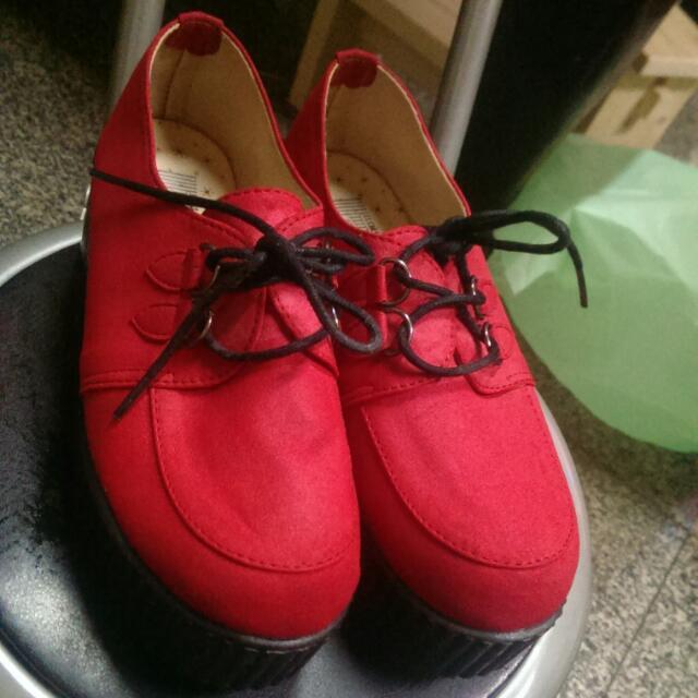桃紅鬆糕鞋