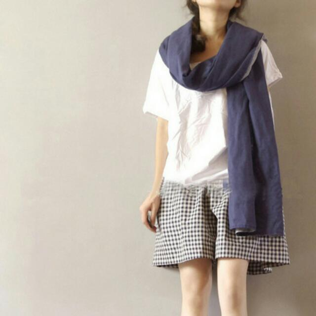 日系棉麻短褲