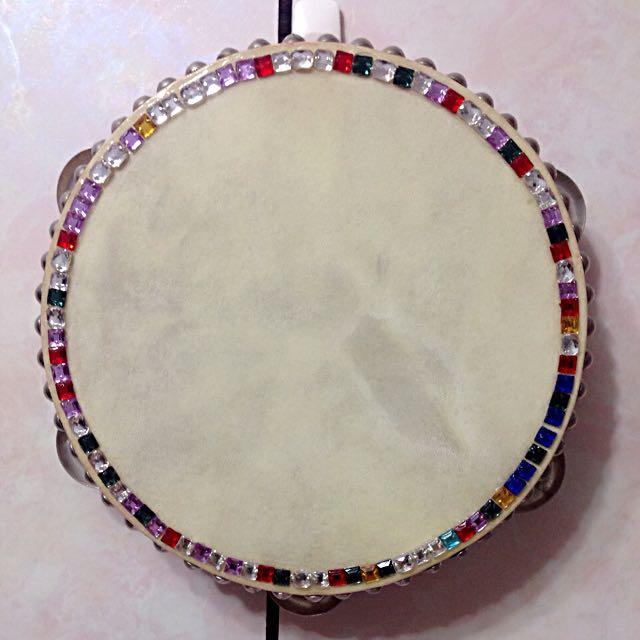 牛皮木框鈴鼓 手工彩色水晶鑲邊