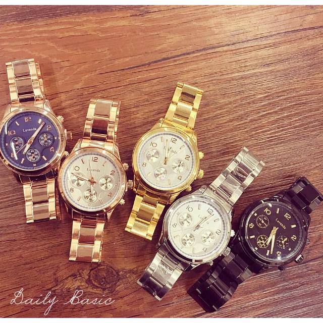 韓國 MK風格金屬大錶面手錶(玫瑰金、金、銀、黑、玫瑰金黑底)