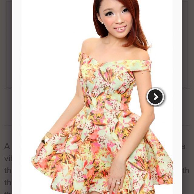Lara J Off Shoulder Posey Walker Dress