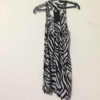 斑馬紋背心裙洋裝