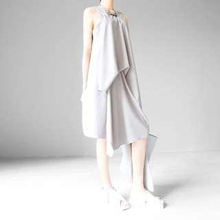 Asymmetrical Dress in Pale Grey