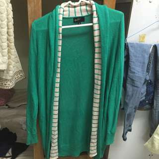 專櫃bear two綠色長版薄針織外套