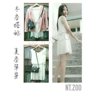 (保留)全新✔米白色雪紡洋裝