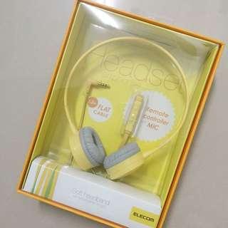 Elecom鵝黃色耳機(含運)