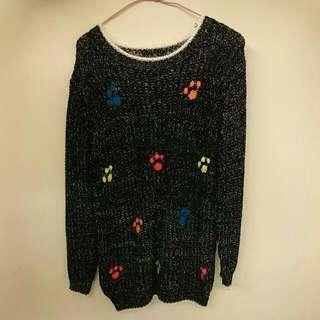 ◆降100元 小掌印毛線衣🍒黑款
