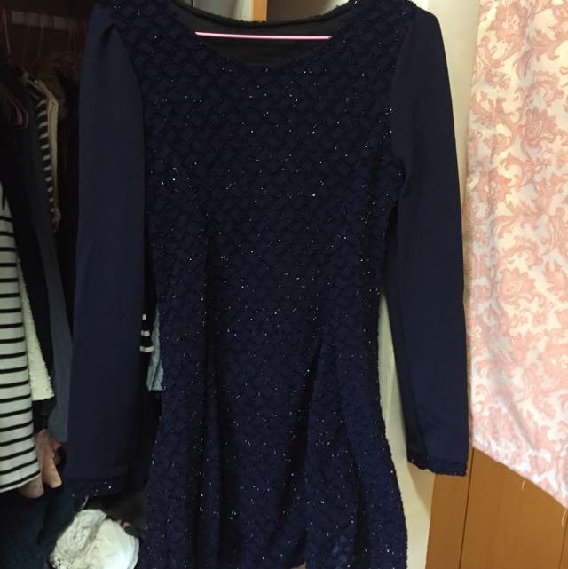 全新 深藍色圓領氣質長袖洋裝👗