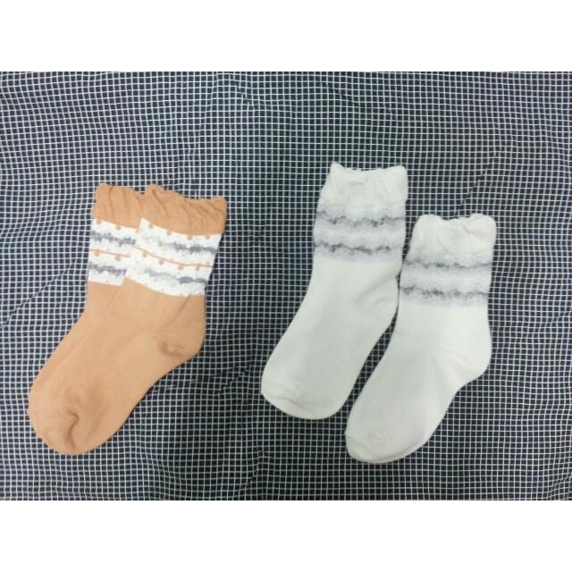 蕾絲 透膚 襪(粉橘;白色)