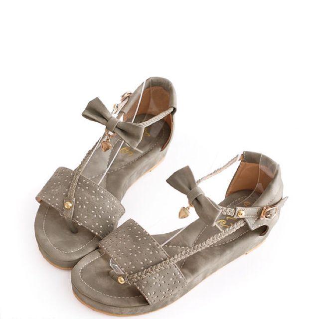 Ann's 雕花編織帶厚底涼鞋*灰38號