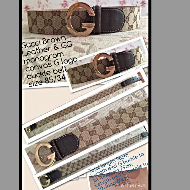 7a1ab72384a Authentic Gucci Brown Leather and GG Monogram Canvas