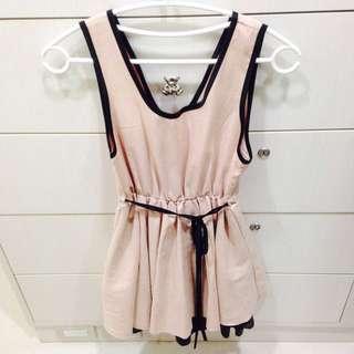 粉色蝴蝶結甜美洋裝200含運