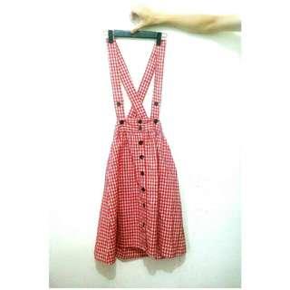 森林女孩 格紋吊帶裙💐【保留】