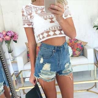Sabo Skirt White Kenna Crop