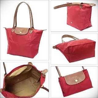 全新正品 Longchamp Le Pliage 摺疊水餃包 長柄M號紅色