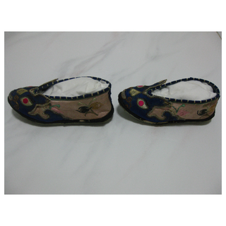 Antique Blue Chinese Children Embriodered Shoes with Rabbit Design