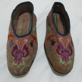 Antique Pink Chinese Children Embriodered Shoes