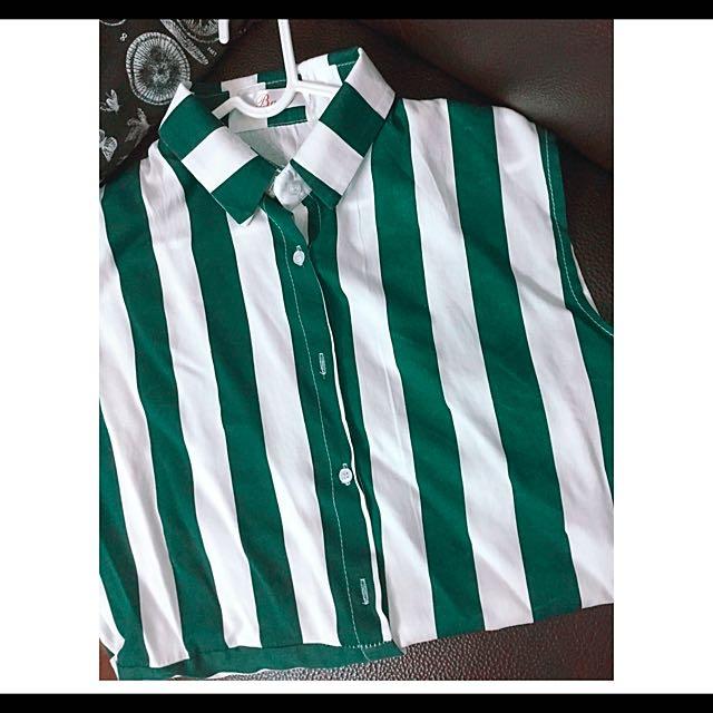 韓國🇰🇷復古墨綠直條紋無袖襯衫