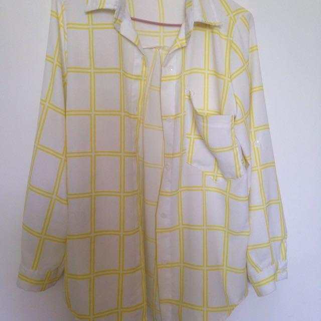 黃白大格襯衫