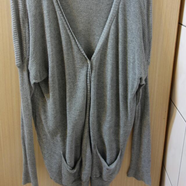 韓版 蝙蝠袖長版針織外套 二手
