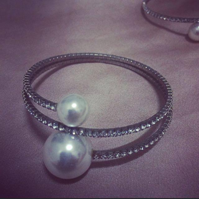 氣質嚴選 - 正韓珍珠鑽手環
