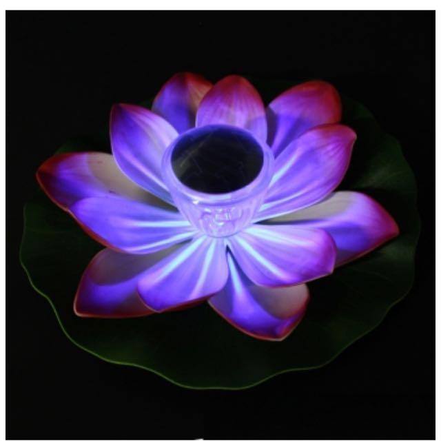 Bransolar Multi Color Led Lotus Flower Lamp Floating Pond Nightlight