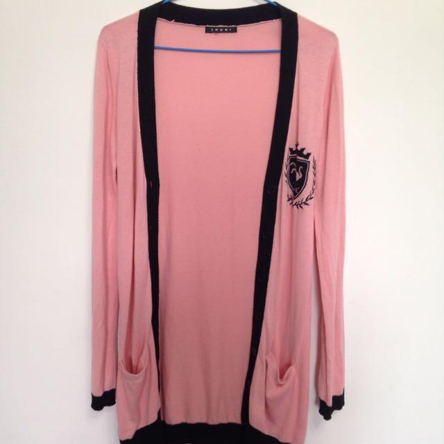 日系品牌IINGNI粉紅長版紅外套