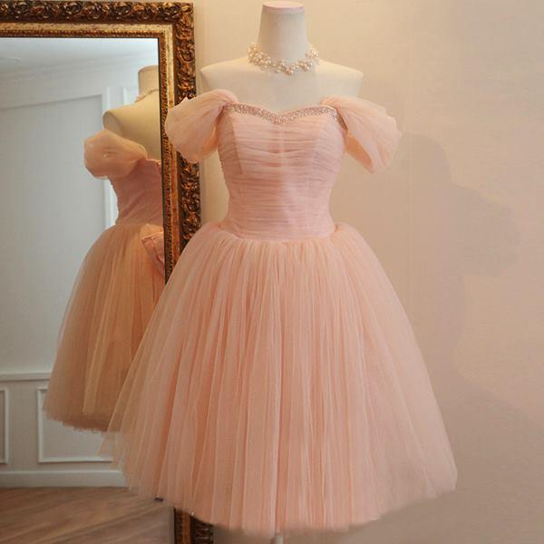 6689333b9f Pink cream macaroon tutu plain tube elegant dinner gown dress ...