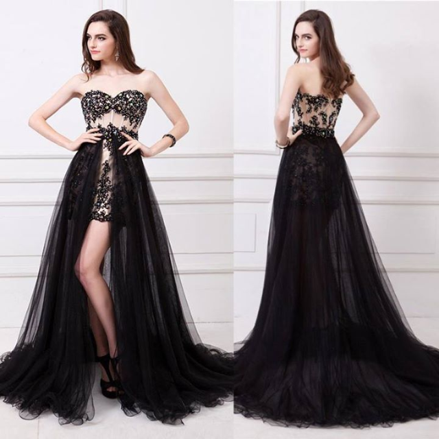 6ef21b709ec Pre Order Black cream floral flower floor sleeveless tube bustier plain  long elegant dinner gown dress