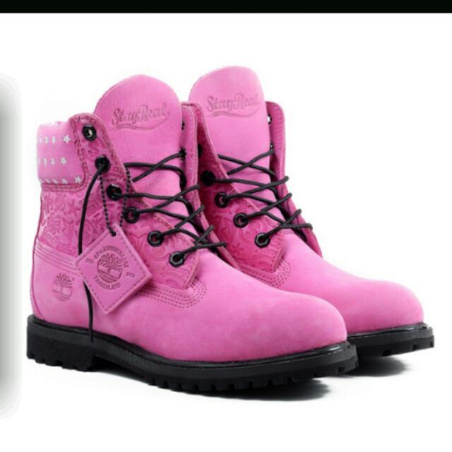 timberland 限量 桃紅靴