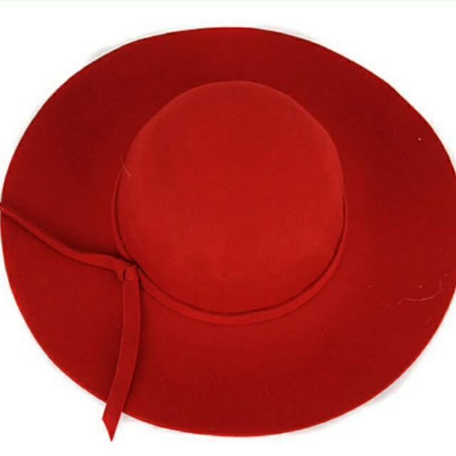 Wool Maroon Floppy Hat