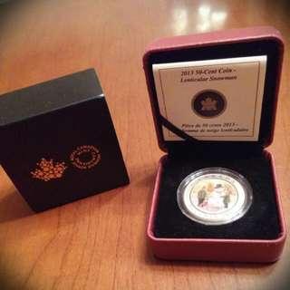Royal Canadian Mint 2013, 50 Cent Snowman Piece, Mint Condition