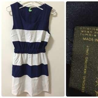 正韓 藍白拼接洋裝