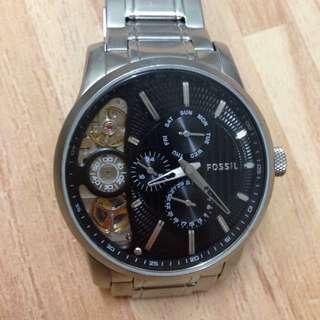 FOSSIL ME1097 雙芯構造TWIST系列腕錶 黑/銀 42mm