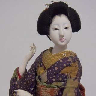Vintage Japanese Geisha Doll Glass Eyes, Realistic Look.