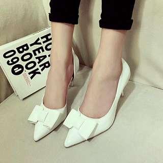 [全新工廠直營] 蝴蝶結高跟鞋 白色