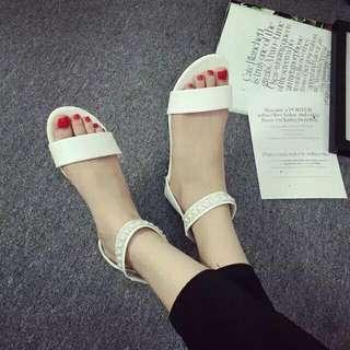 [全新工廠直營] 水鑽涼鞋 白色