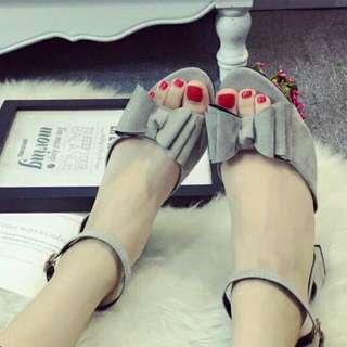 [全新工廠直營] 蝴蝶結涼鞋 灰色