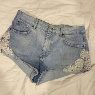 Pull And Beat Denim Shorts