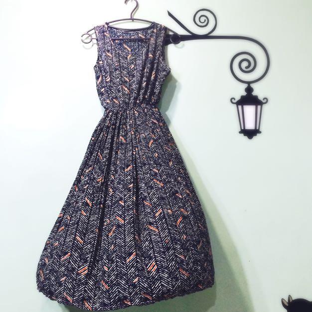 復古古著洋裝-深藍