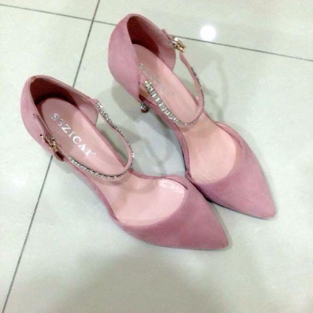 全新正韓粉色絨布跟鞋