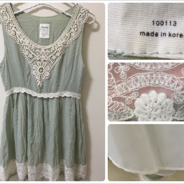全新正韓薄棉刺繡洋裝